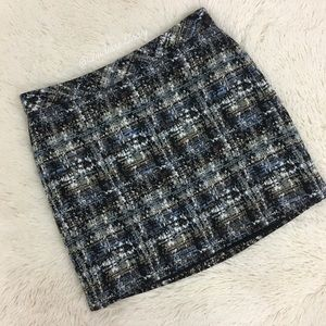 J. Crew- Black & Blue Multi Mini Skirt SZ 4